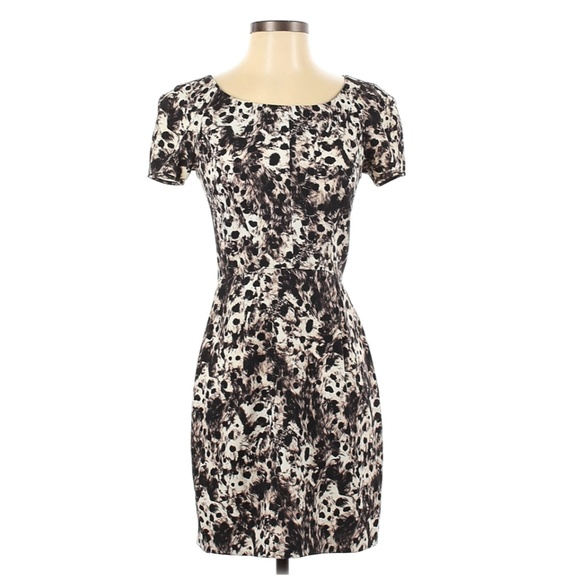 The Kooples Animal Print Fitted Short Sleeve Dress